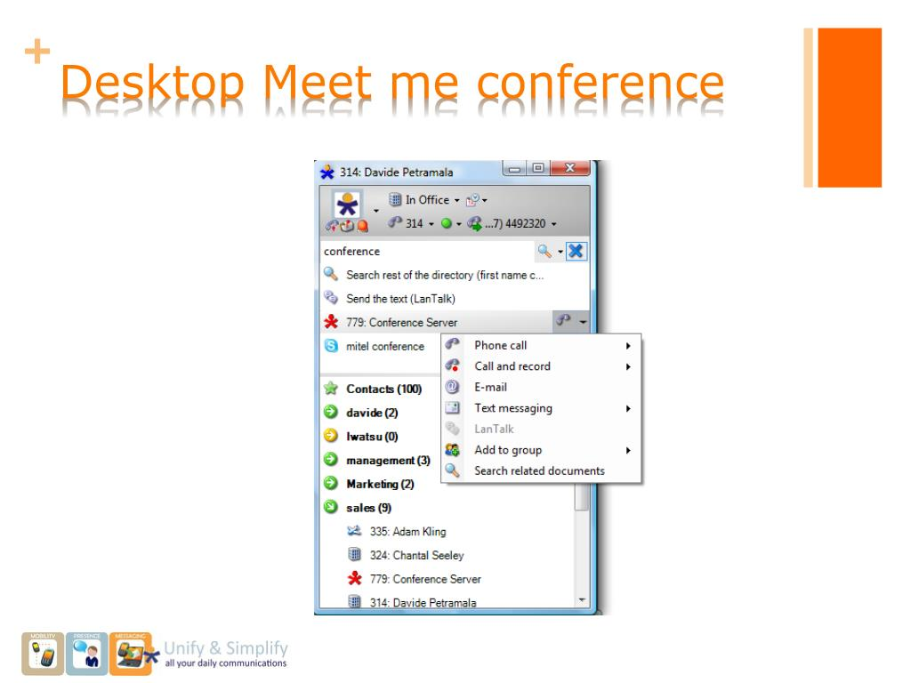 Desktop Meet me conference