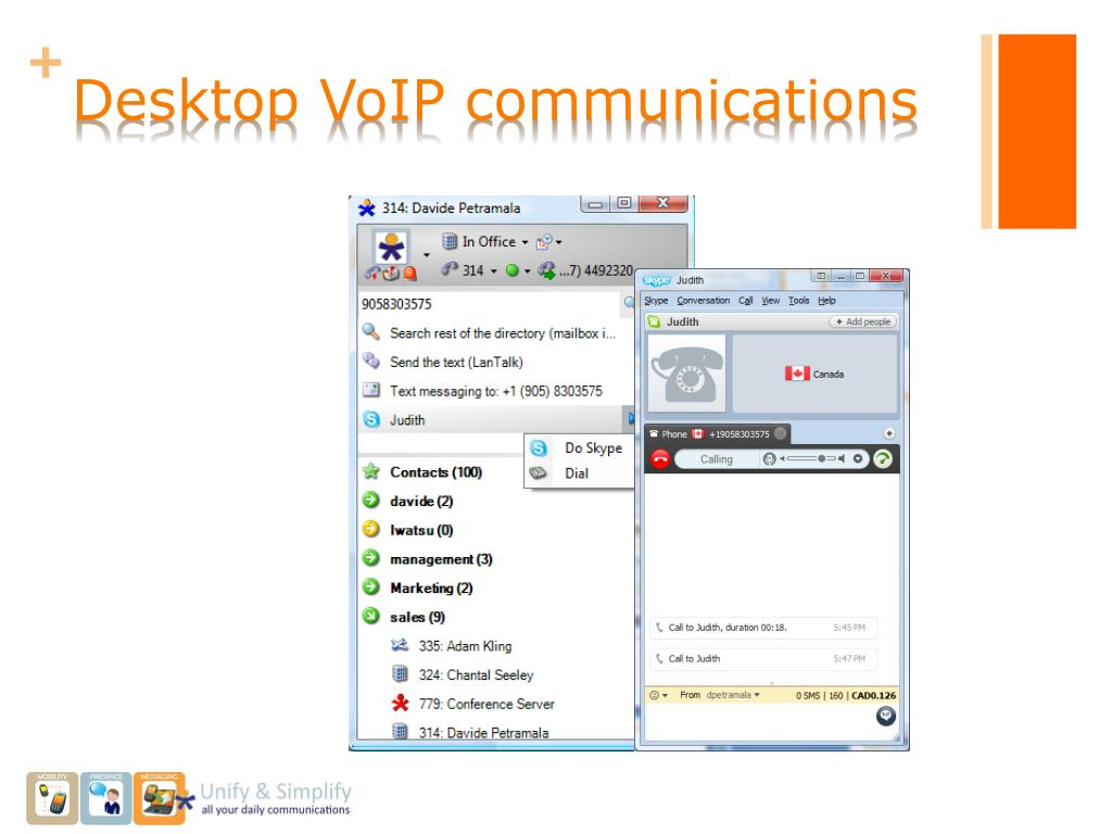 Desktop VoIP communications
