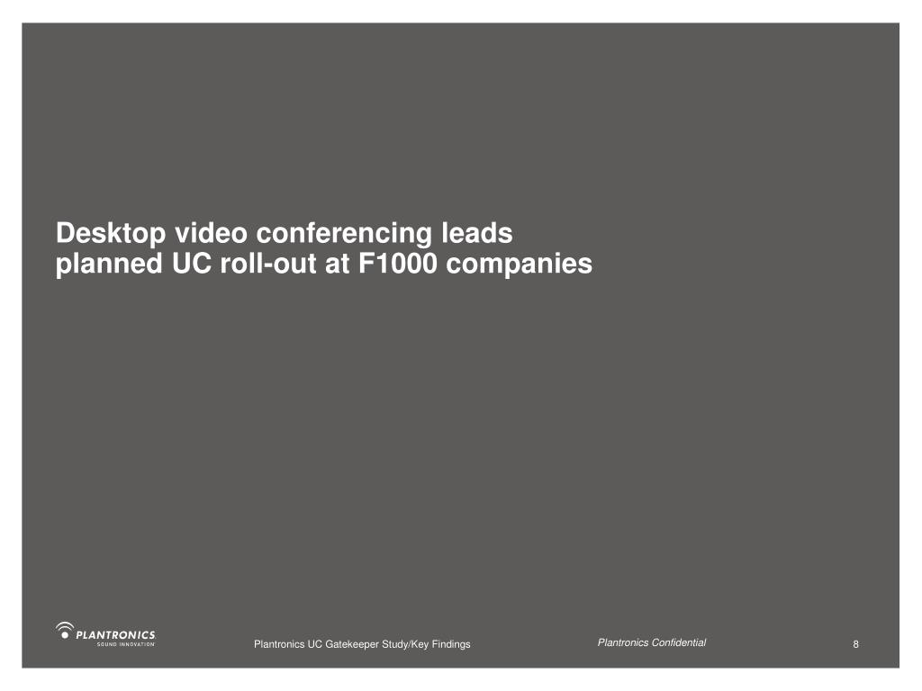 Desktop video conferencing leads