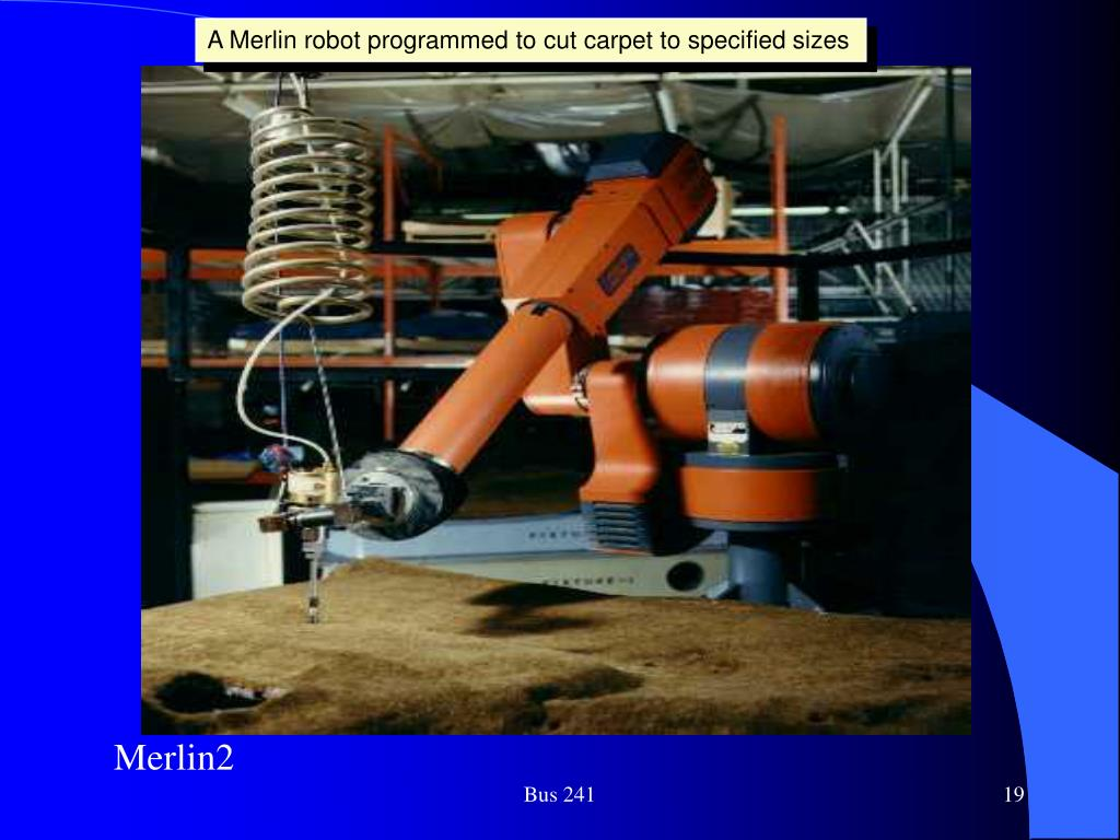 A Merlin robot programmed to cut carpet to specified sizes