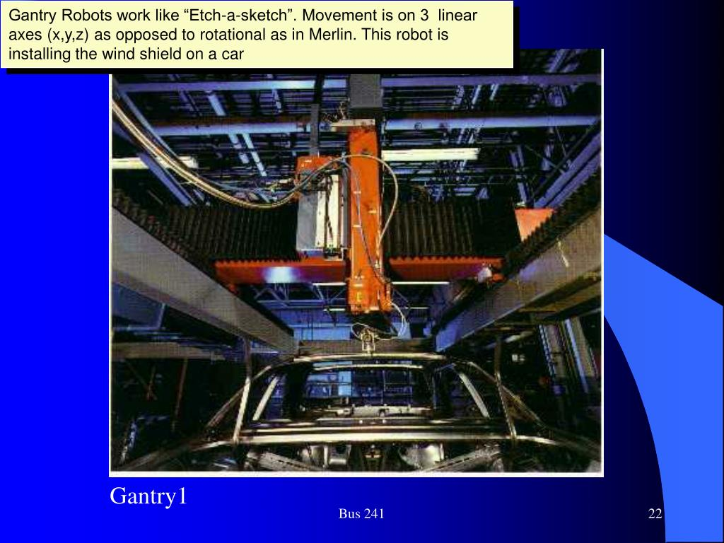 """Gantry Robots work like """"Etch-a-sketch"""". Movement is on 3  linear axes (x,y,z) as opposed to rotational as in Merlin. This robot is installing the wind shield on a car"""