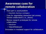 aware ness cues for remote collaboration