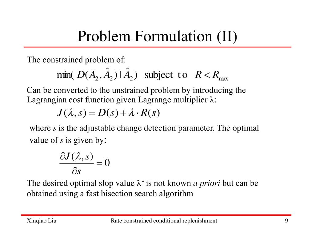 Problem Formulation (II)