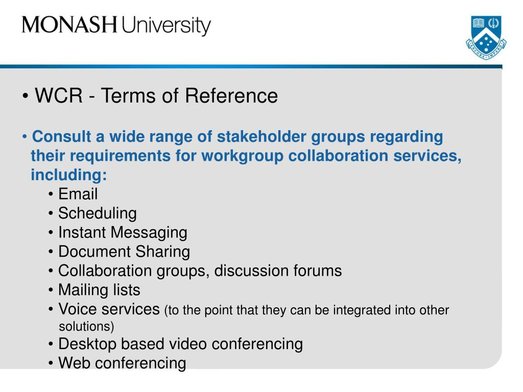 WCR - Terms of Reference