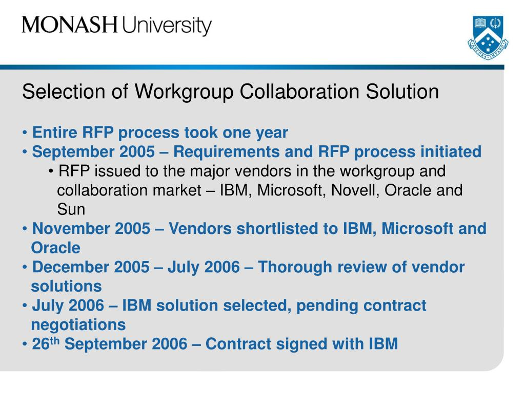 Selection of Workgroup Collaboration Solution