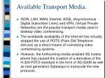 available transport media