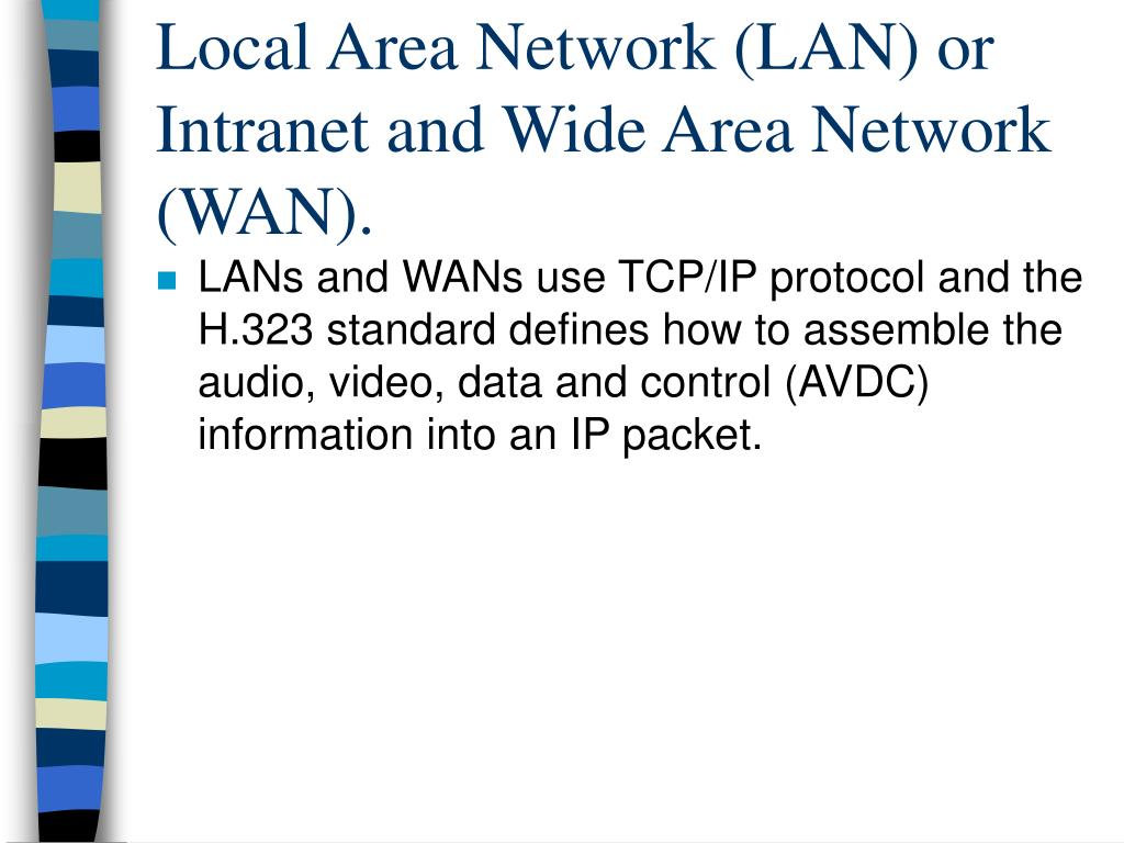 Local Area Network (LAN) or Intranet and Wide Area Network (WAN).