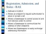 registration admission and status ras