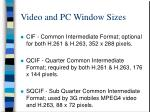 video and pc window sizes20