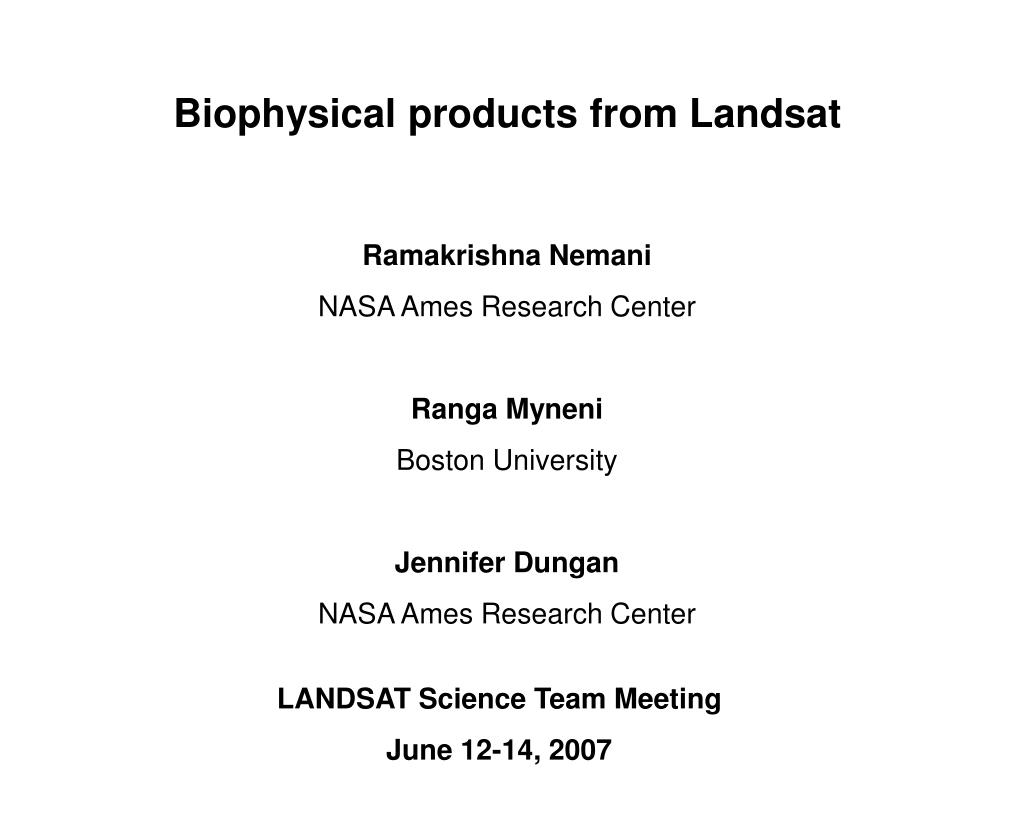 biophysical products from landsat