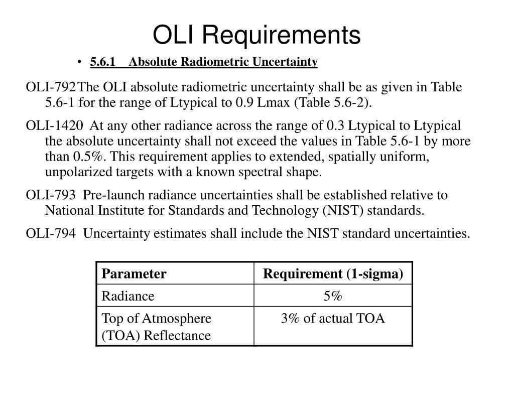 OLI Requirements