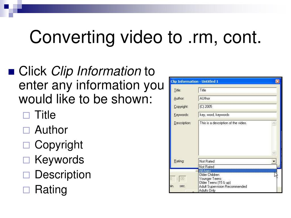 Converting video to .rm, cont.