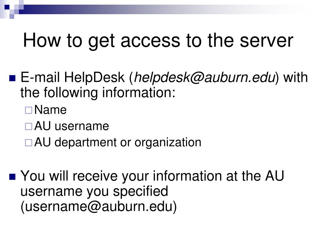 How to get access to the server