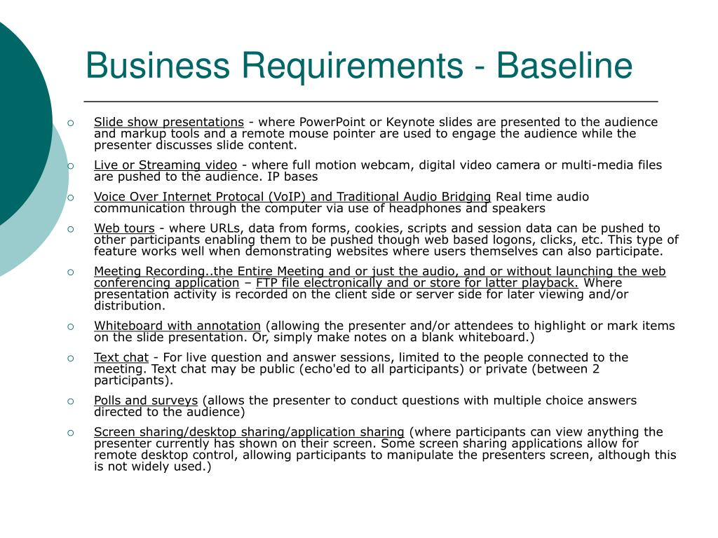 Business Requirements - Baseline