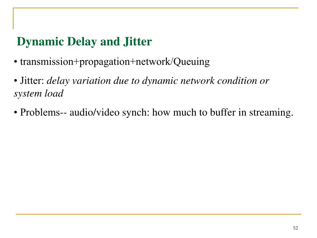 Dynamic Delay and Jitter