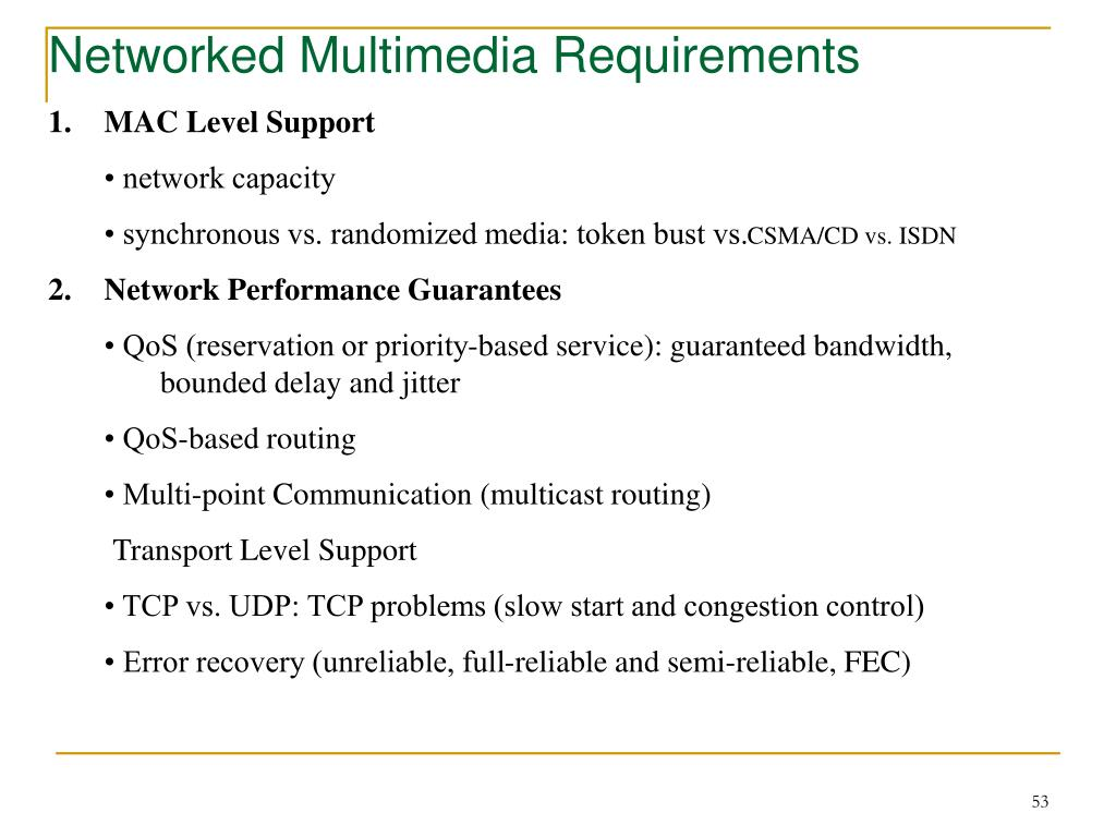Networked Multimedia Requirements