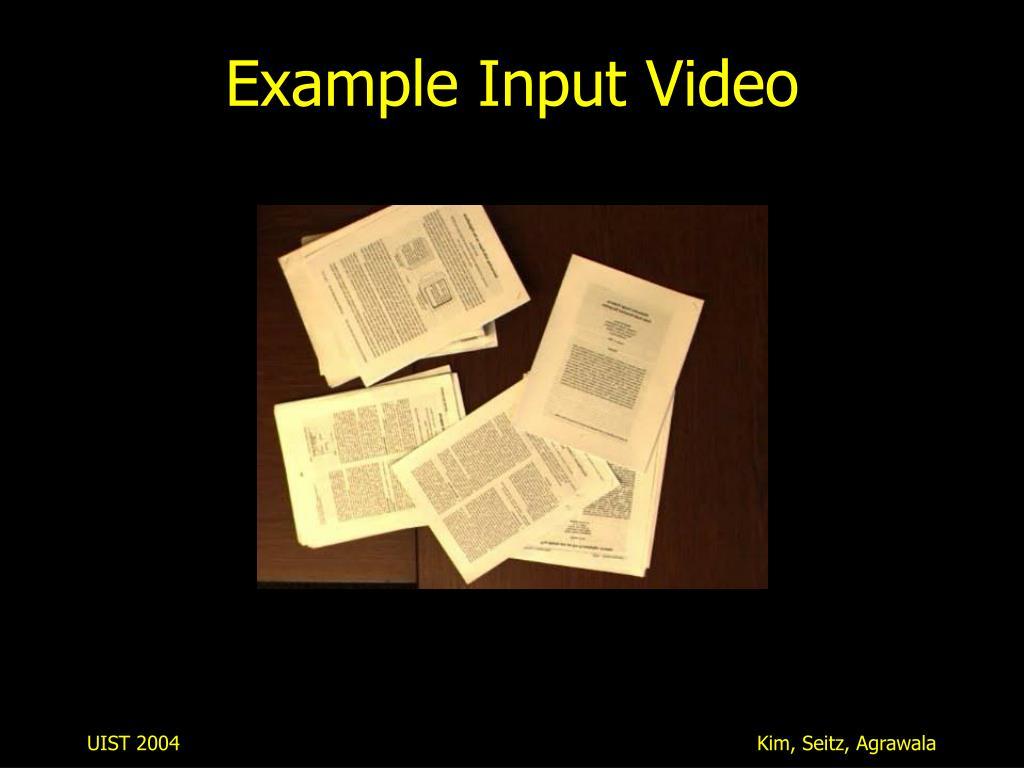 Example Input Video