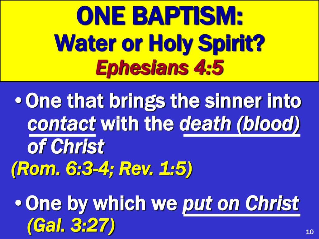 ONE BAPTISM:
