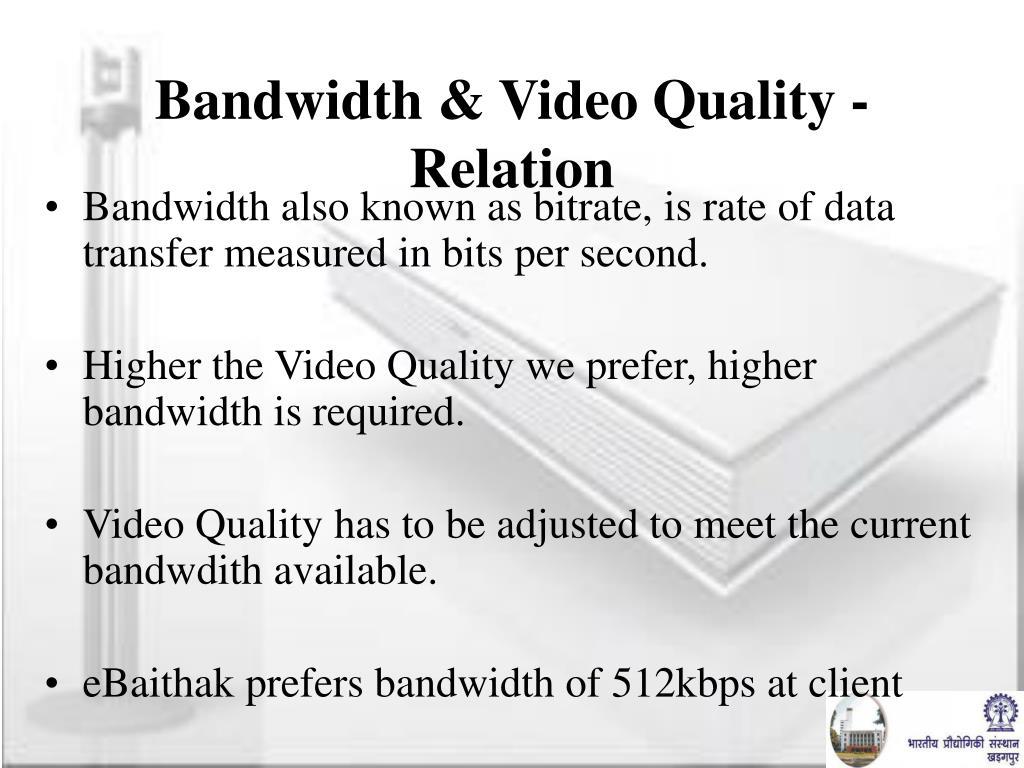 Bandwidth & Video Quality - Relation