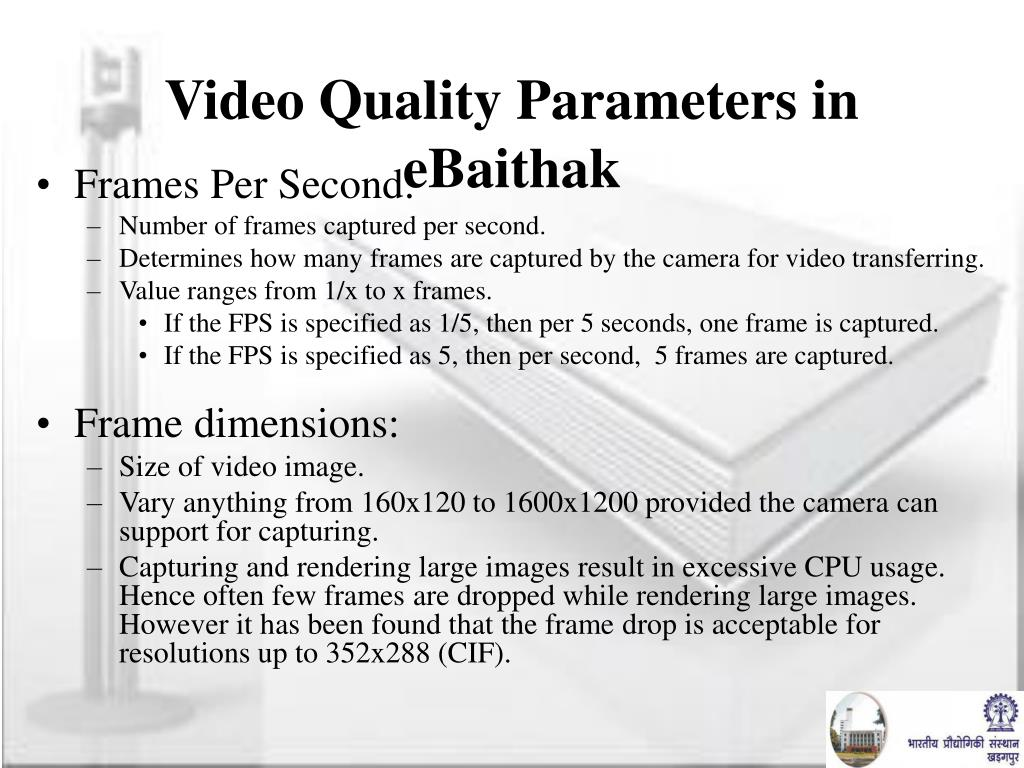 Video Quality Parameters in eBaithak
