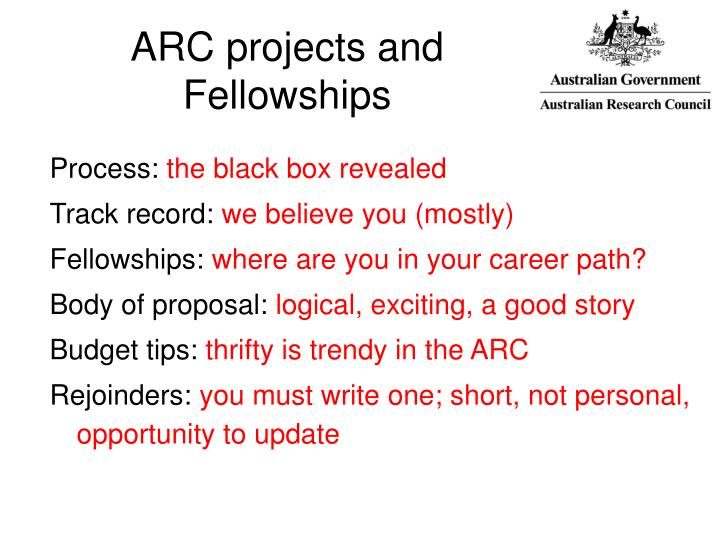 Arc projects and fellowships l.jpg