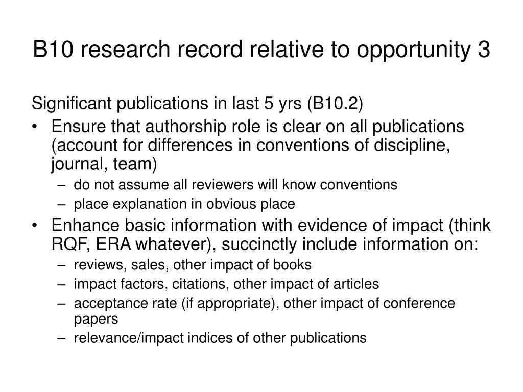 B10 research record relative to opportunity 3