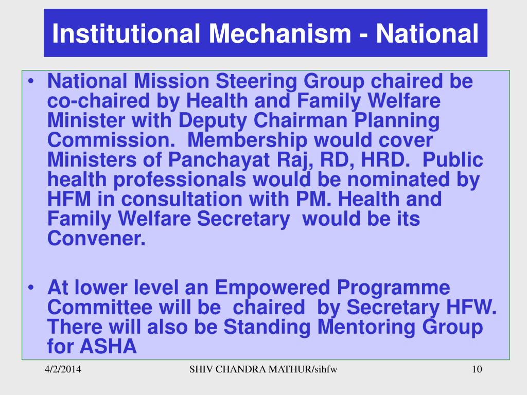 Institutional Mechanism - National
