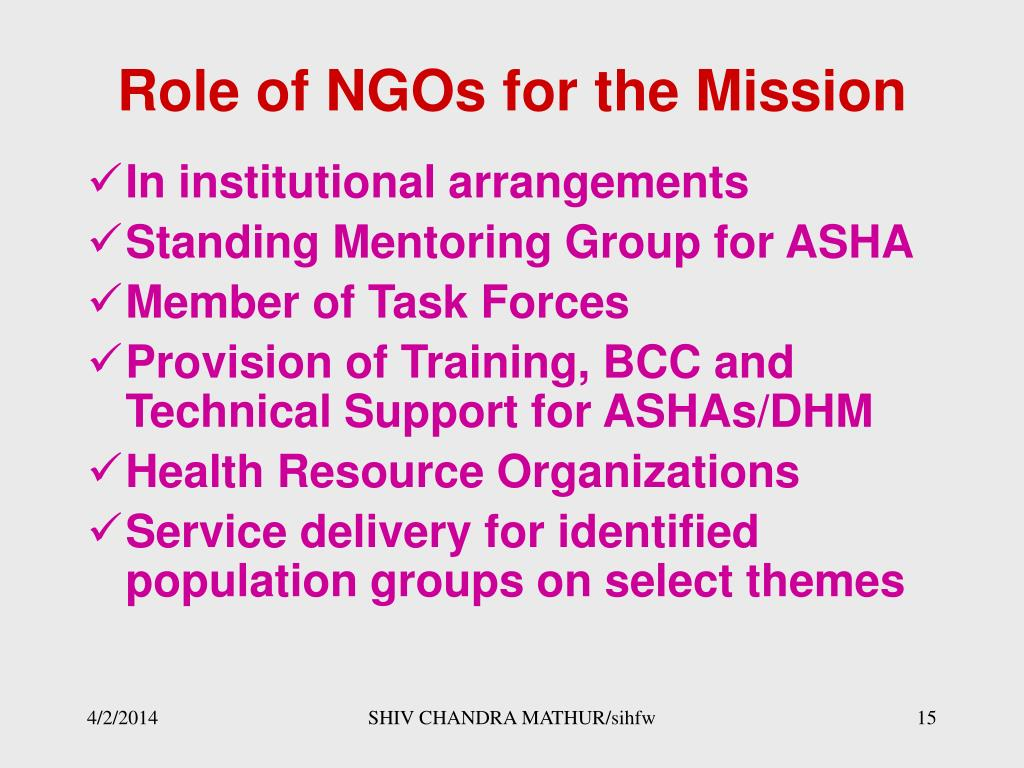 Role of NGOs for the Mission