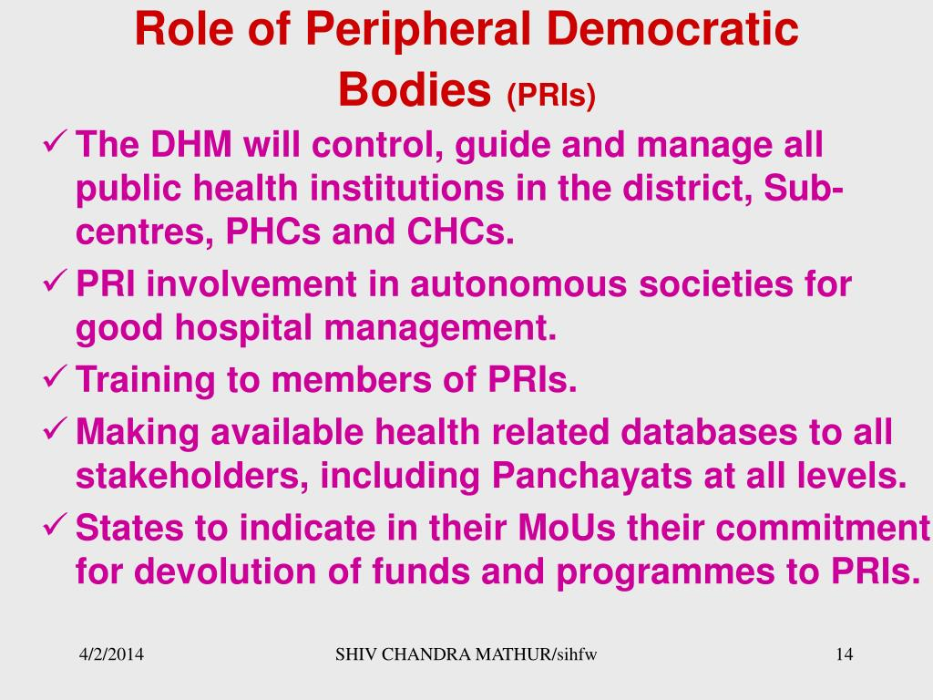 Role of Peripheral Democratic Bodies