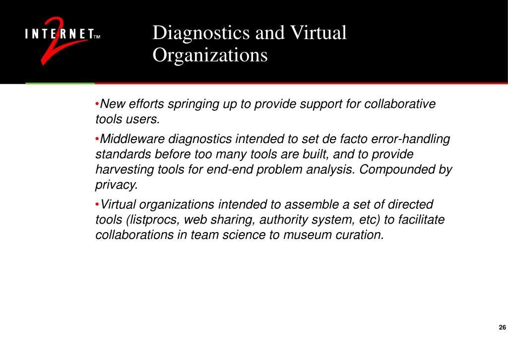 Diagnostics and Virtual Organizations