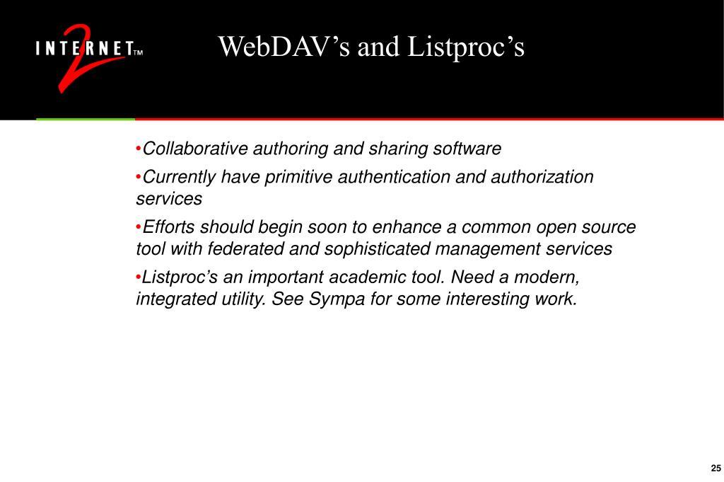 WebDAV's and Listproc's