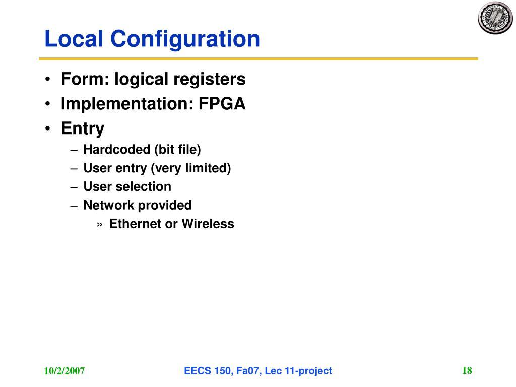 Local Configuration