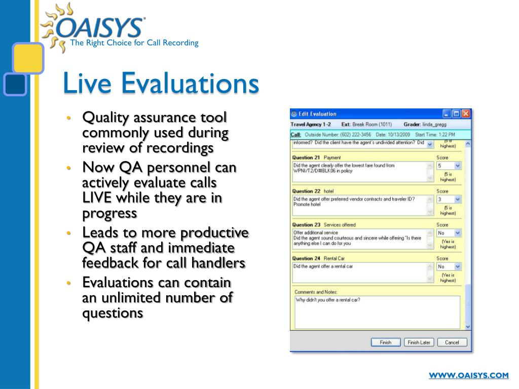 Live Evaluations