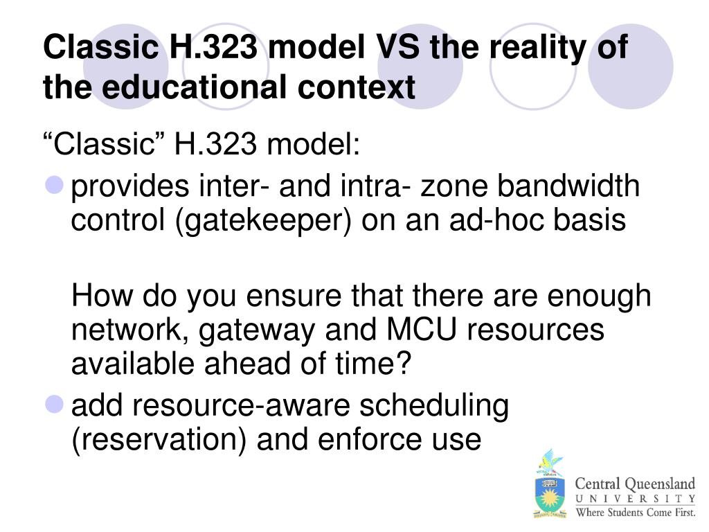 Classic H.323 model VS the reality of the educational context