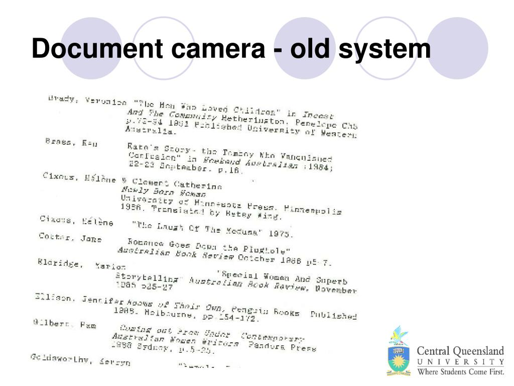 Document camera - old system