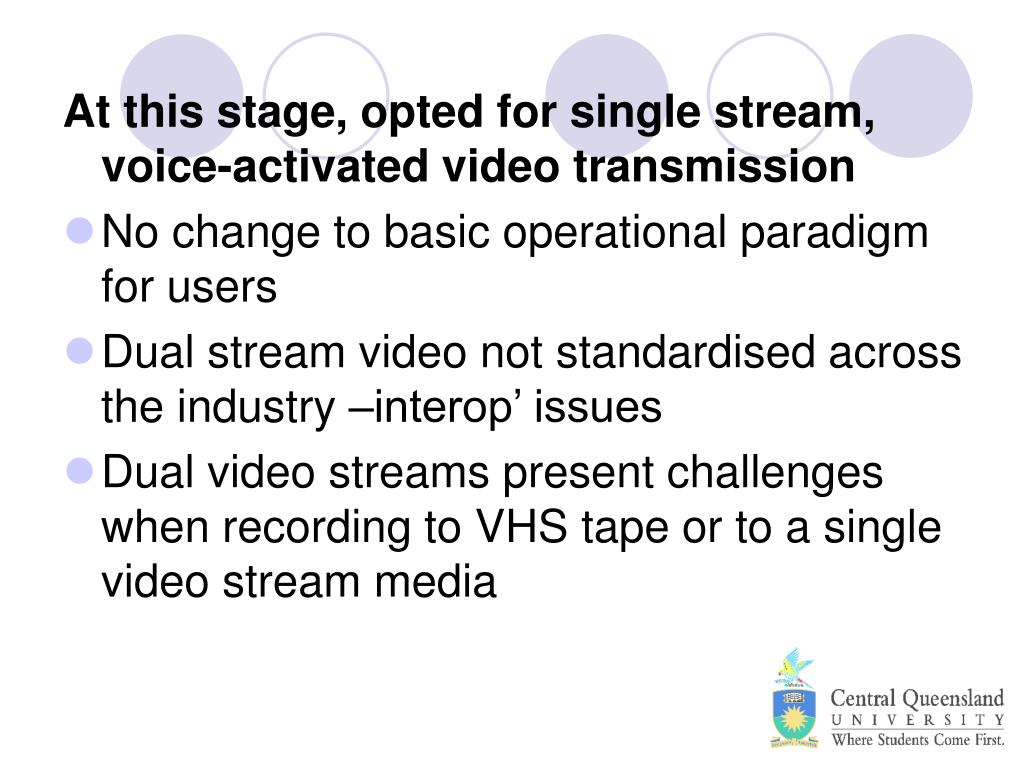 At this stage, opted for single stream, voice-activated video transmission