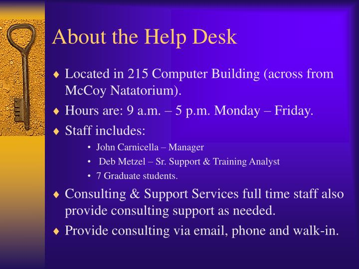 About the help desk