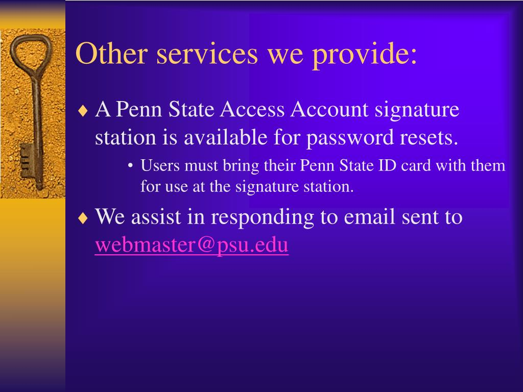 Other services we provide: