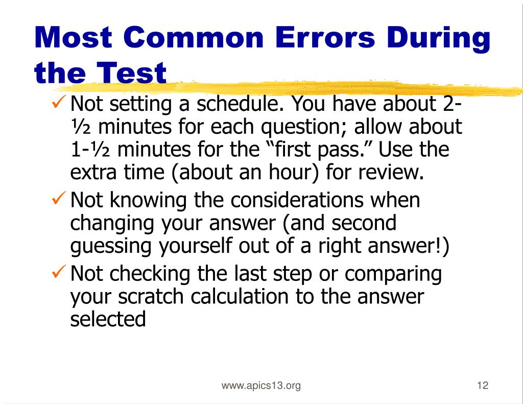 Most Common Errors During the Test