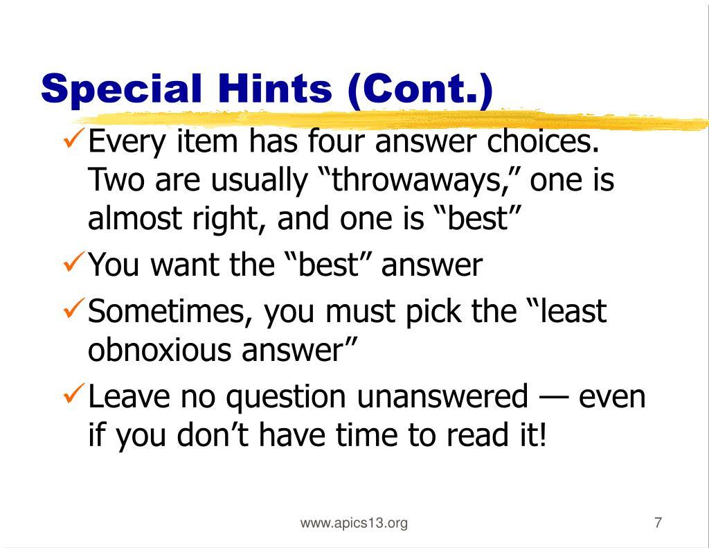 Special Hints (Cont.)