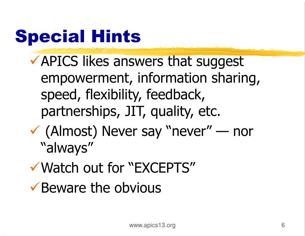 Special Hints