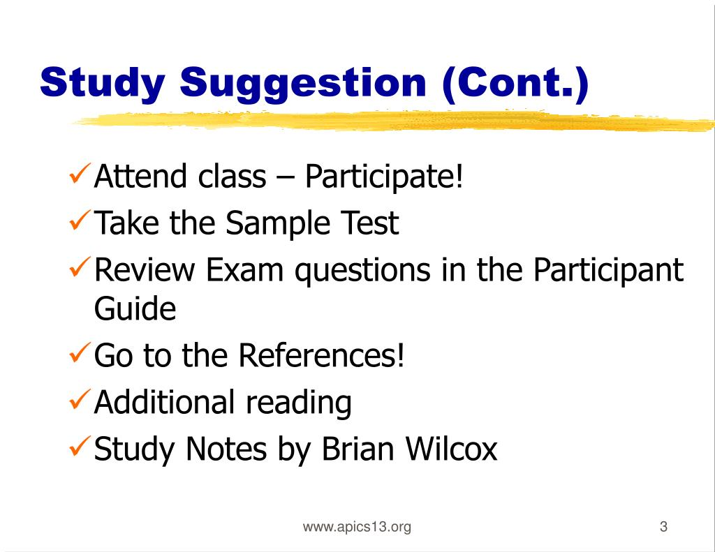 Study Suggestion (Cont.)