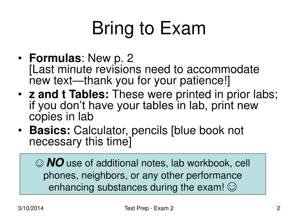 Bring to Exam