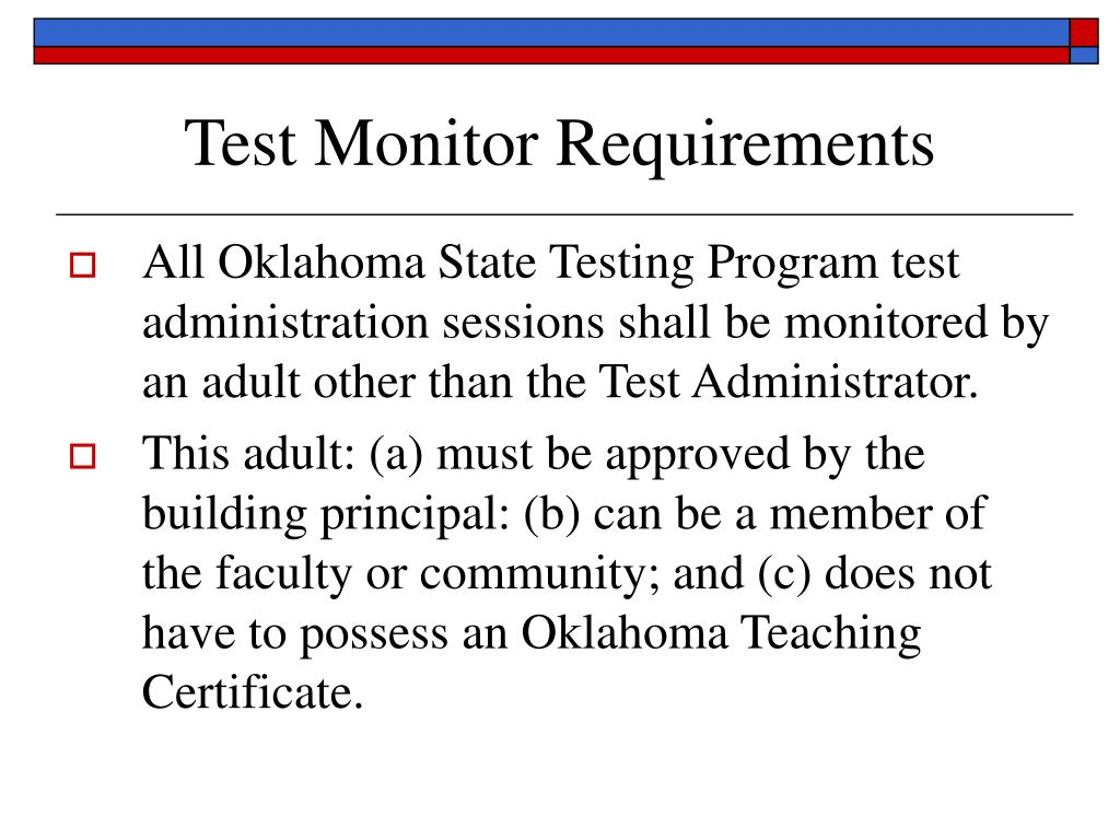 Test Monitor Requirements