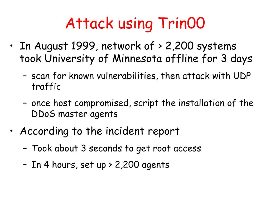 Attack using Trin00
