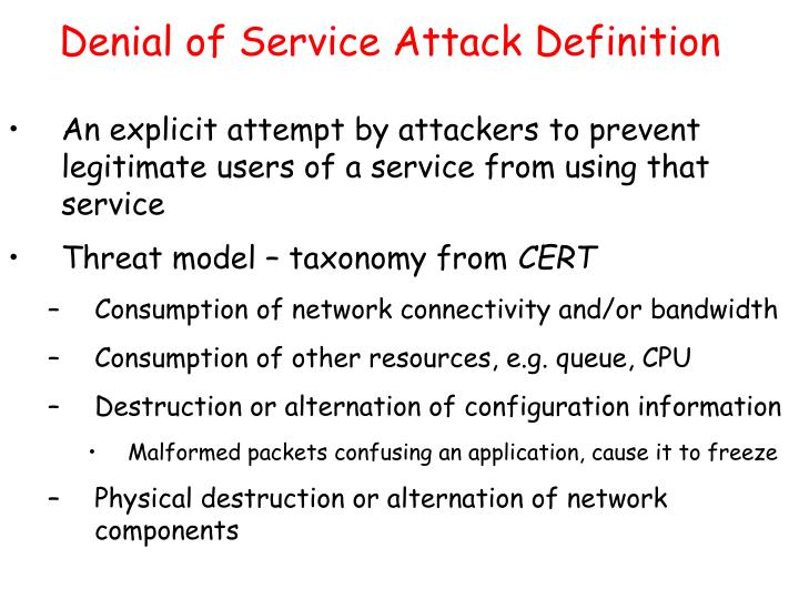 Denial of service attack definition