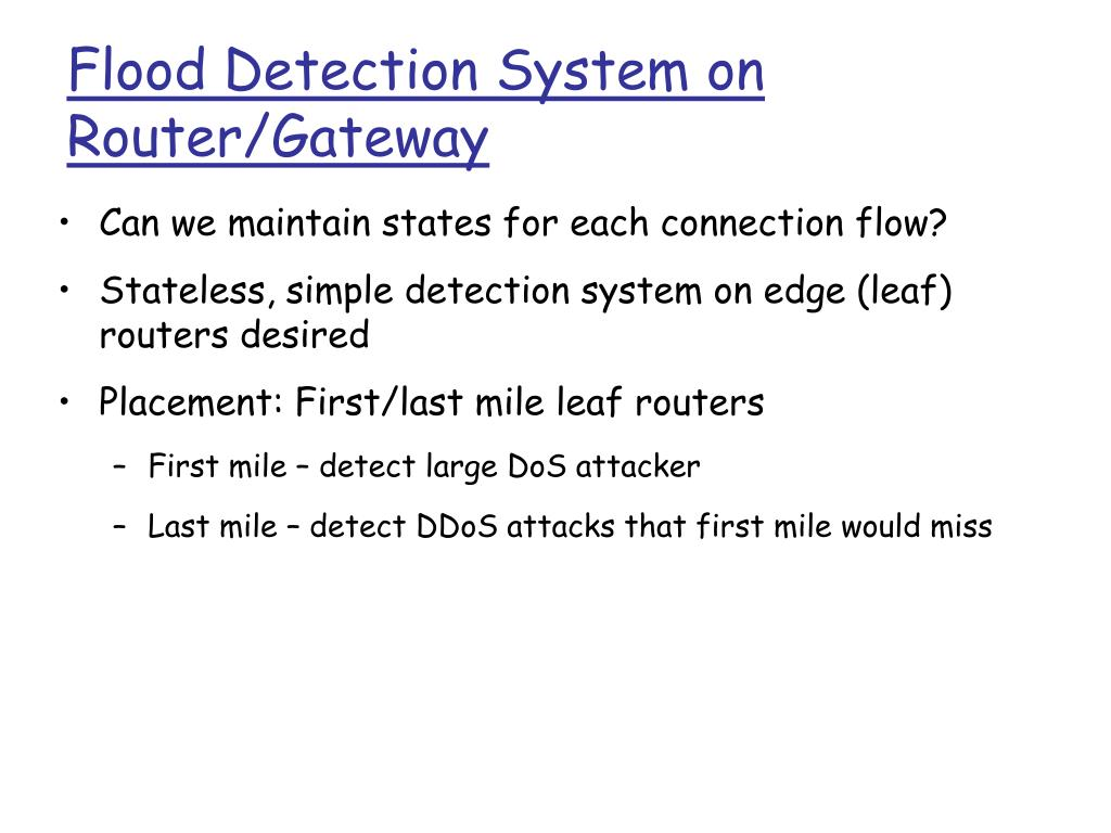 Flood Detection System on Router/Gateway