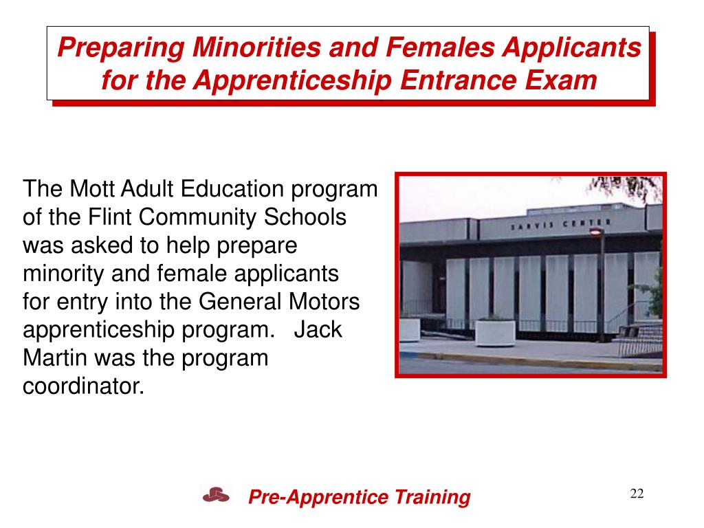 Preparing Minorities and Females Applicants for the Apprenticeship Entrance Exam