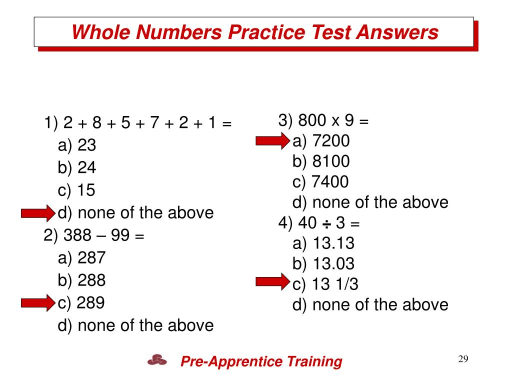Whole Numbers Practice Test Answers