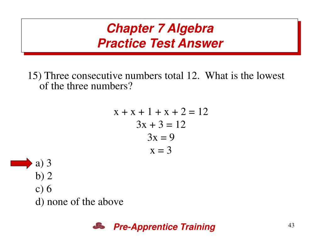 Chapter 7 Algebra